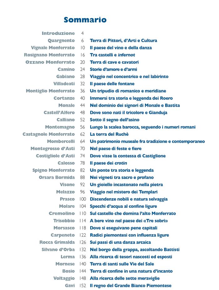 35 borghi imperdibili del Monferrato, indice